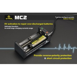 acculader xtar-mc2 voor het opladen van accu's box